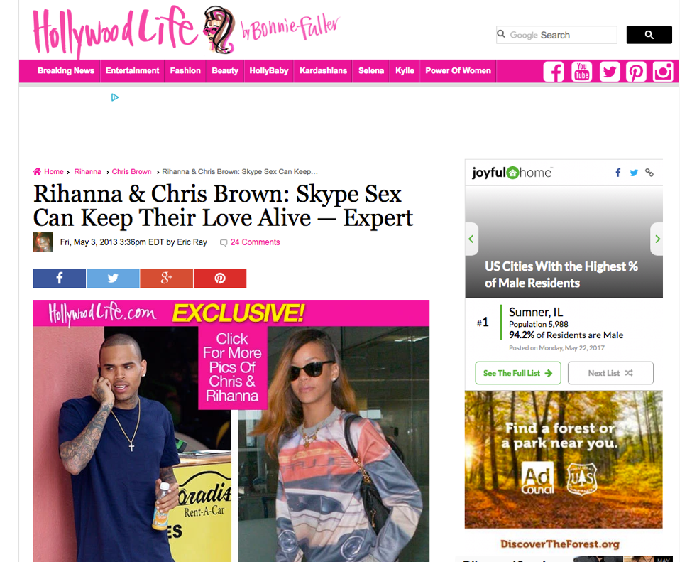 Hollywoodlife Com Rihanna Chris Brown Skype Sex Can Keep Their Love Alive Dr Ava Cadell